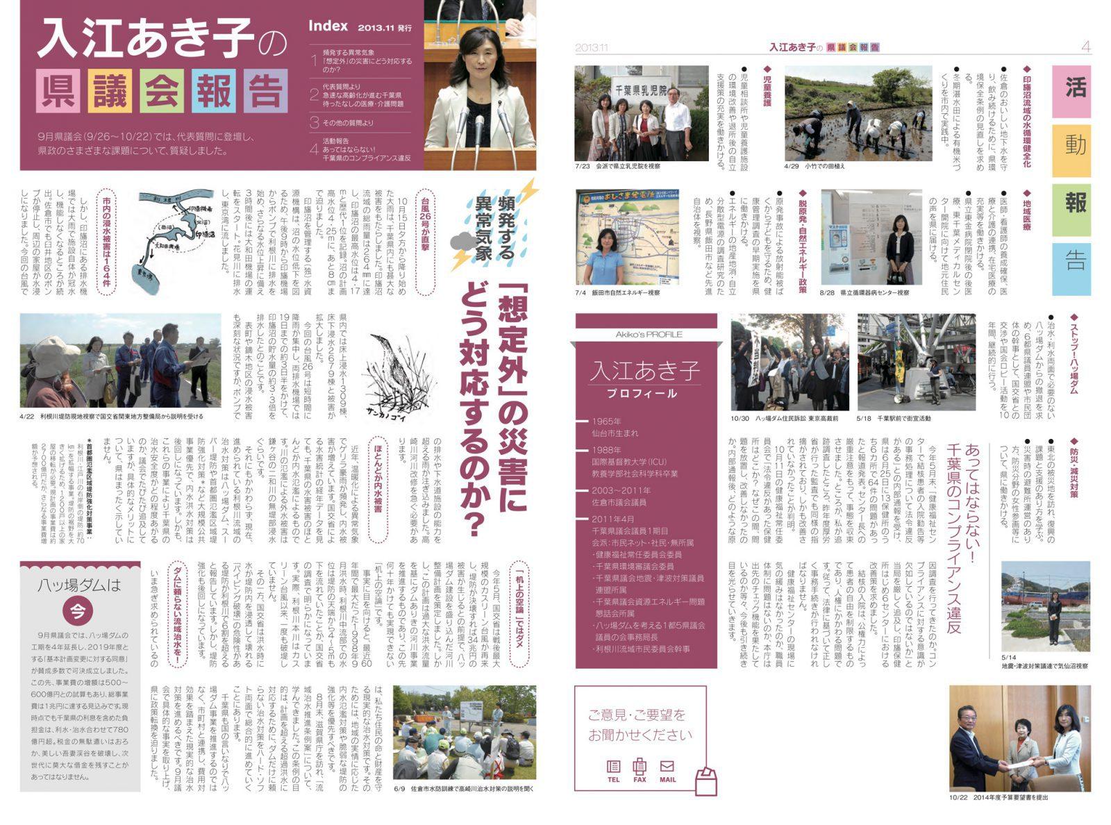 入江あき子の県議会報告 2013年11月発行