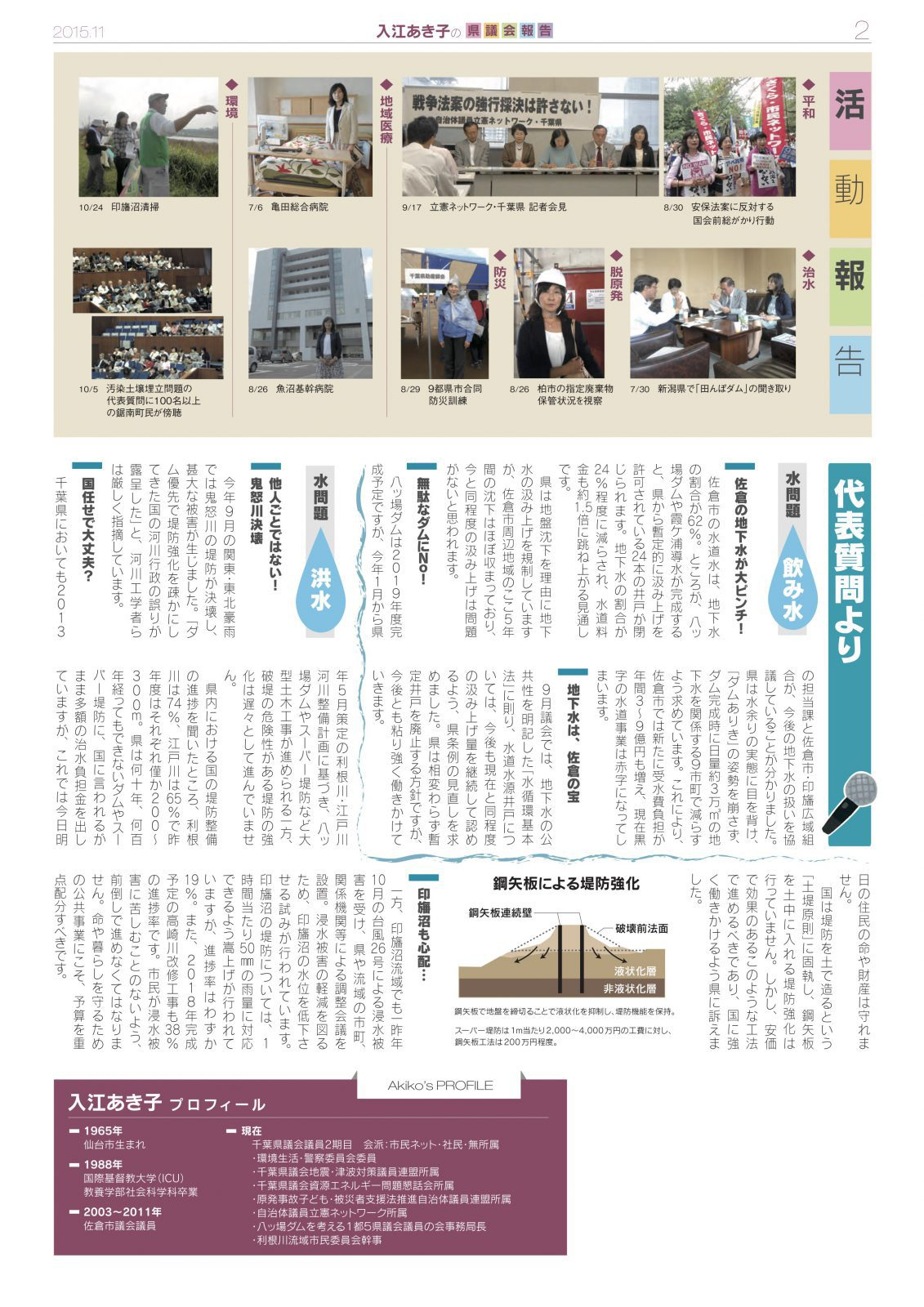 入江あき子の県議会報告 2015年11月発行