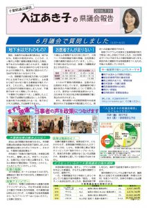 入江あき子の県議会報告 2016年7月19日発行