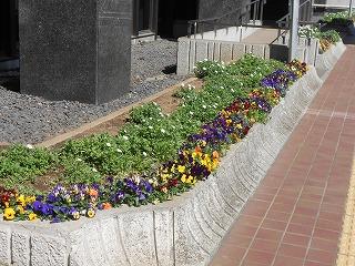 県議会前の花壇
