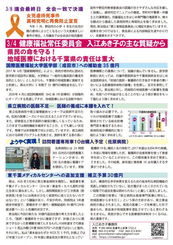 入江あき子の県議会報告 2019年3月